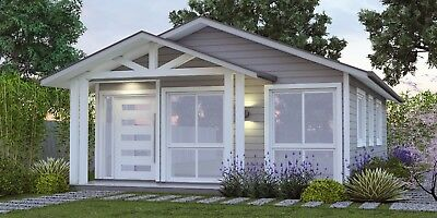 59 m2 Hamptons Style House Plan For Sale - Kit home Design 2 Bed + Study Nook