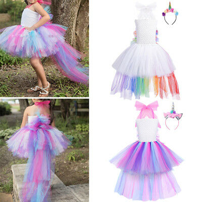Girls Kids Baby Rainbow Tulle Tutu Costume Party Fancy Dress Princess Outfits