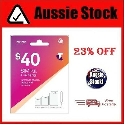 $40 Telstra Prepaid Sim Kit + Recharge for Mobile Phones, Tablets & Modems