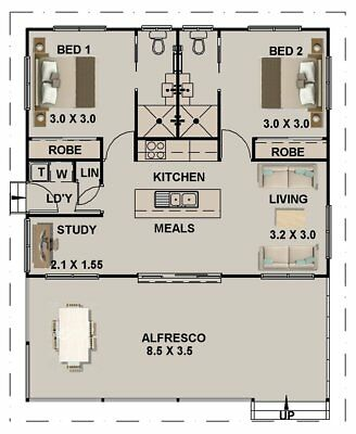 Kit Home House Plan 59 m2  2 Bed + 2 Bath + Study + Meals + Laundry Sale