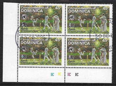 DOMINICA 1985 International Youth Year SINGLE CRICKET V PLATE BLOCK of 4 Used