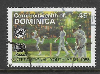 DOMINICA 1985 International Youth Year SINGLE CRICKET Value only Fine Used (No1)