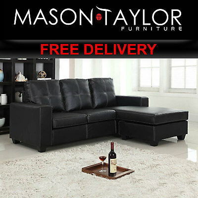 Mason Taylor Nowra Black Sofa with CHAISE Couch Lounge V43-SOFNOWBL-CS