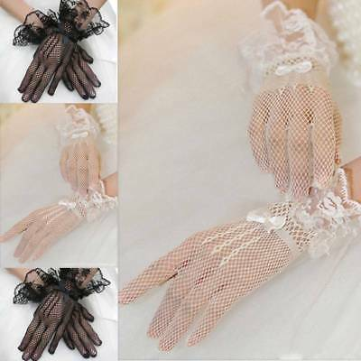 Black White Lace Fishnet Wedding Bridal Fingered Gloves For Party Wedding Dress