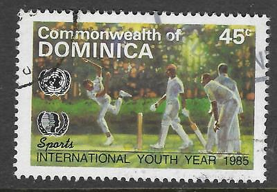 DOMINICA 1985 International Youth Year SINGLE CRICKET Value only Fine Used (No2)