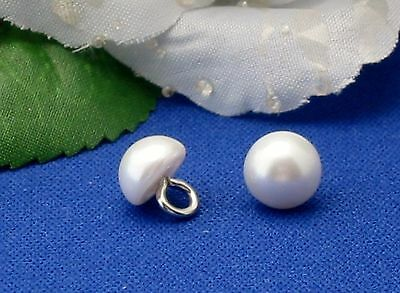 #BT195   8mm WHITE Half Ball Bridal Pearl Buttons with Metal Shank  18 pcs