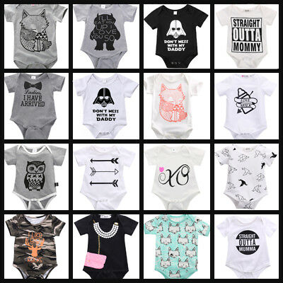 Organic Newborn Baby Boy Girls Romper Jumpsuit Outfits Sunsuit Cotton Clothes
