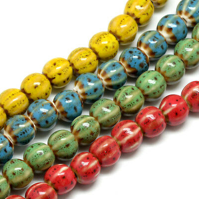 200pcs Fancy Handmade Porcelain Beads Antique Glazed Pumpkin Loose Bead 11~12mm