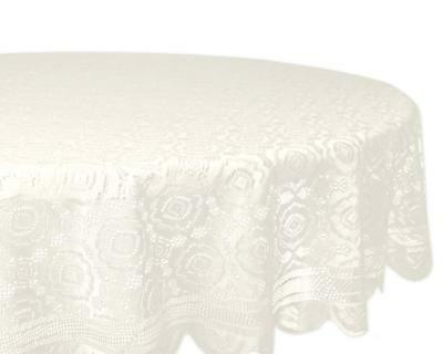 Vintage White Round Table Cloth Retro Linen Floral Lace Tablecloth Dining Cover