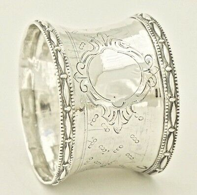19C Antique French Sterling Silver Napkin Ring Holder 950 Minerva Queille Table