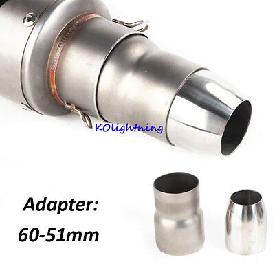 Motorcycle Exhaust Connector Stainless Steel Link Adapter Tubes 38-51mm 51-61mm