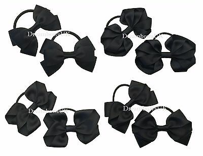 Black grosgrain ribbon hair bows/accessories on thick bobbles or alligator clips