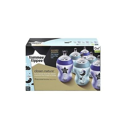 Tommee Tippee Closer to nature Decorated Bottles, 260 ml, Blue/Purple, Pack of 6