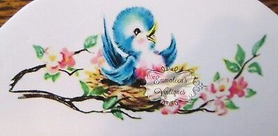 "Vintage-Like 10"" Infant Child's Wooden Painted Hanger With Decal~Shabby Bluebird"