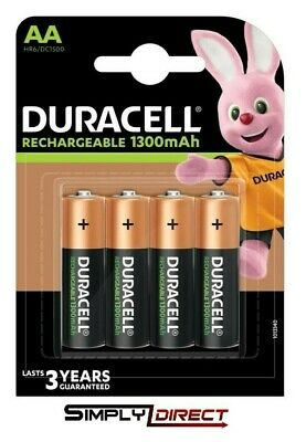 Duracell AA Rechargeable Batteries NiMH 1300mAh Stay Charge HR6 HR06-Free post