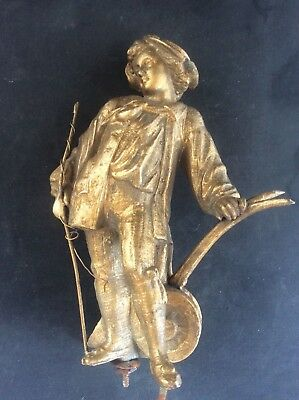 Antique Victorian Gilt Metal Plough man Figure Finial c1870 1 of Pair for Clock