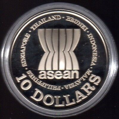 1987 Singapore $10 Dollars Silver Proof (ASEAN)
