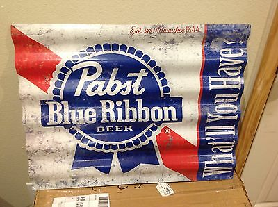 Pabst Blue Ribbon Red,White & Blue Tin Roof Man Cave Tacker