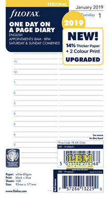 Filofax 2019 Personal size Diary - One Day On A Page Appointment Insert 19-68441