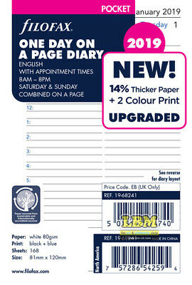 Filofax 2019 Pocket size Diary - One Day On A Page Appointment Insert 19-68241