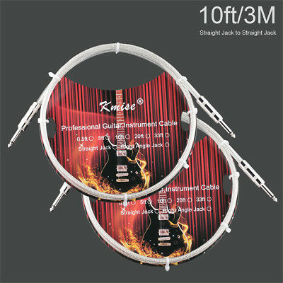 2 Pcs Kmise Guitar Cable Instrument Cord 10ft OFC Braided for Electric Guitar