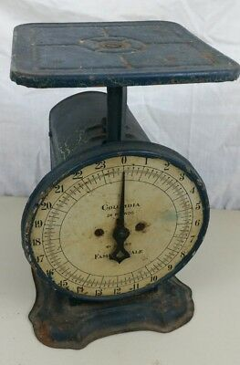 Vintage Antique Columbia Family Scale Farm Art Deco Kitchen 24 Lb Rustic Metal