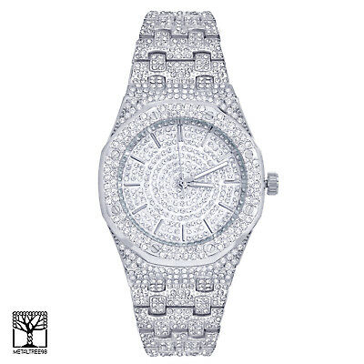 Techno Pave Bling Men's Silver Plated Iced Hip Hop Metal Band Watches WM 8651 S