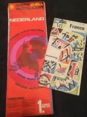 ANTIQUE MAPS x 2 - Nederlands Netherlands Shell and France Government - (2297)