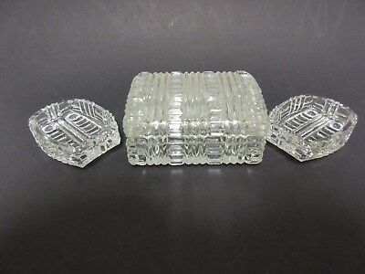Rare Crystal Akro Agate Cigarette Box & Lid with 2 Rare Ashtrays