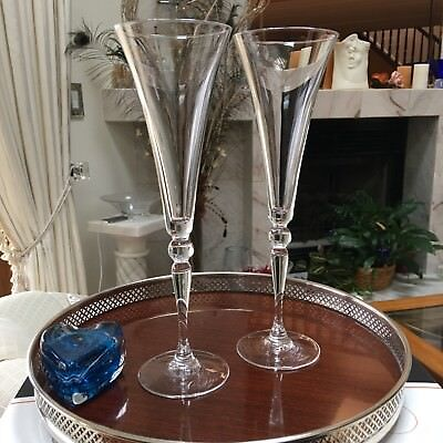 Beautiful and Elegant Pair of Tall Champagne Toasting Flutes