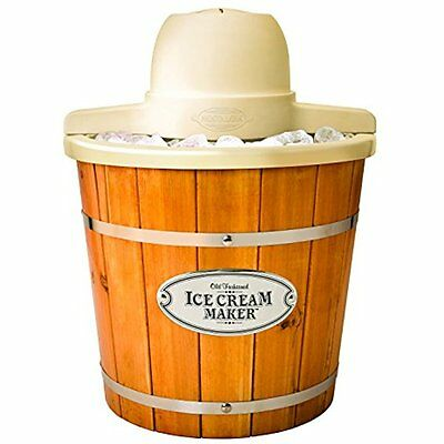 Nostalgia ICMP400WD 4-Quart Electric Wood Bucket Ice Cream Maker
