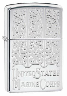 Zippo USMC Engraved High Polish Chrome Pocket Lighter