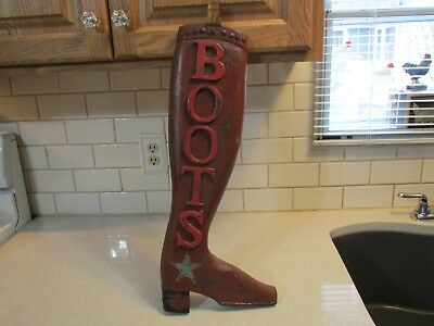 "Vintage 22"" Wooden Folk Art Trade Sign Cowboy Boot In Old Red Paint"