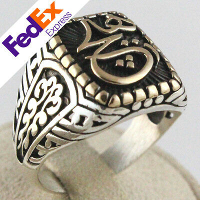 Special Islamic Design Turkish Handmade 925 Sterling Silver Men Luxury Ring