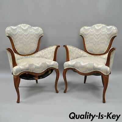 Pair of Vintage Hollywood Regency Armchairs Sculpted Dorothy Draper French Style