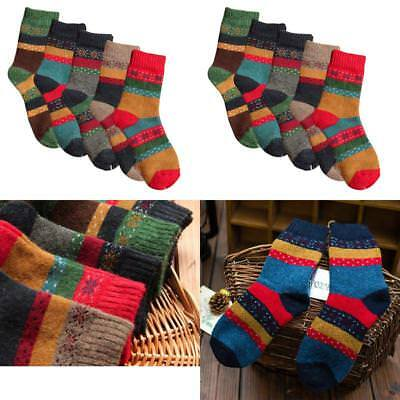 Christmas Gift 5 Women'S Thick Knit Warm Casual Wool Cotton Crew Winter Socks