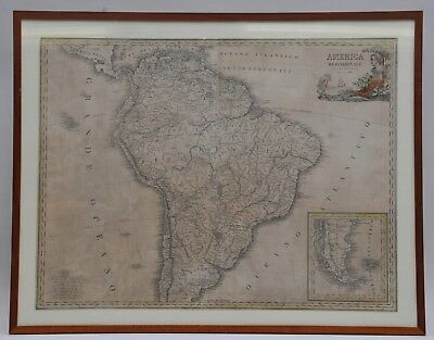"""ANTIQUE 1829 MAP of SOUTH AMERICA ITALIAN MADE """"AMERICA MERIDIONALE"""" 21"""" X 28"""""""