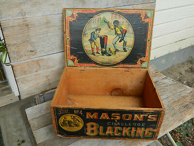 Antique Mason's Challenge Blacking Shoe Shine Polish Box Advertising