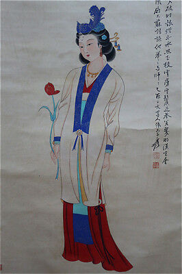 Excellent Chinese 100% Hand Painting & Scroll Beauty By Zhang Daqian 张大千 YB868