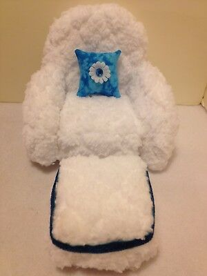 WHITE CHENILLE CHAIR With Ottoman For Monster High, Barbie Or Bratz Dolls