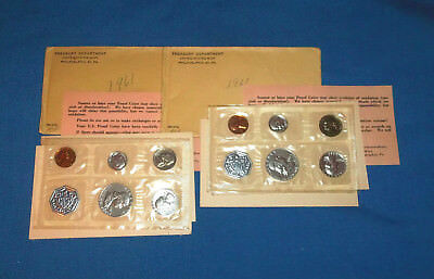 Two 1961 Silver Proof Sets Mint Sealed Cello Original Paperwork Envelopes
