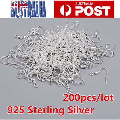 925 Sterling Silver Earring Hooks Wire 200pcs Hypoallergenic Ear Wire DIY New