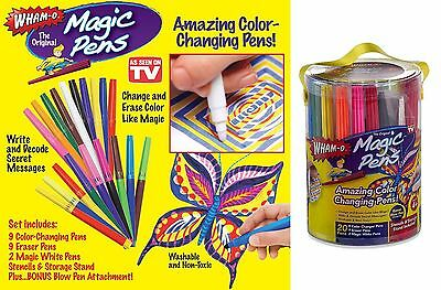 20 Pens Magic Pens Color Changing Markers Wham o As Seen On TV Washable Stencils
