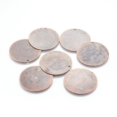 10pcs Red Copper Brass Metal Dog Tag Pendants Round Stamping Blanks Charms 34mm