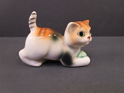 Vintage Porcelain Ceramic Pottery CALICO Cat RED TABBY Figurine JAPAN 3 1 2