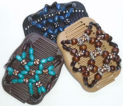 """Set of 3 Double Hair Combs, Angel Wings Clips 4x3.5"""", Butterfly, Sparkle Beads"""