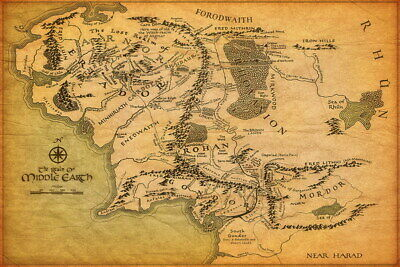 "001 Map of Middle Earth Lord Of The Rings - Hobbit Movie 21""x14"" Poster"