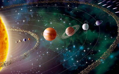 "022 Solar System - The Sun Planets Moons Comets Meteors 22""x14"" Poster"