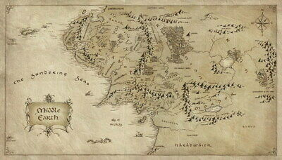 "012 Map of Middle Earth Lord Of The Rings - Hobbit Movie 24""x14"" Poster"