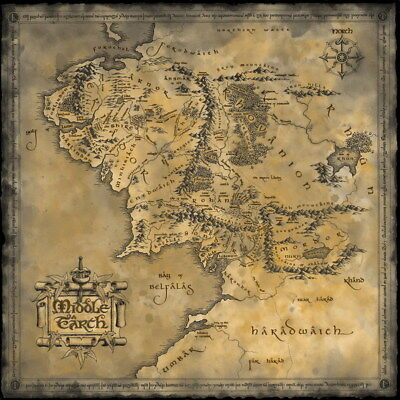"""003 Map of Middle Earth Lord Of The Rings - Hobbit Movie 24""""x24"""" Poster"""